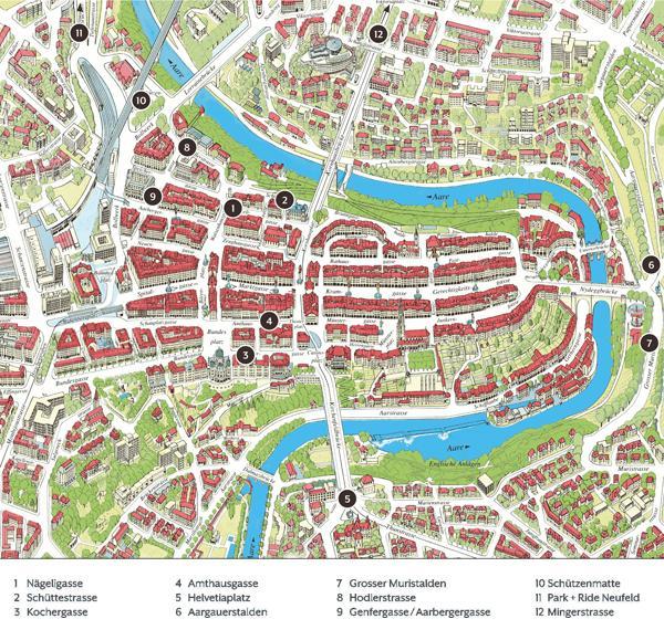mapa de Berna, Suíça